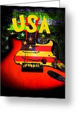 Usa Guitar Music Greeting Card