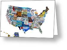 Usa License Plates Map 4p Greeting Card