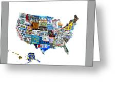 Usa License Plates Map 4p Greeting Card