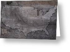 Usa Map Outline On Concrete Wall Slab Greeting Card
