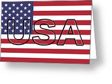 Usa On The American Flag Greeting Card