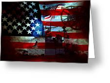 Usa Patriot Flag And War Greeting Card