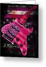 Usa Pink Strat Guitar Music Greeting Card