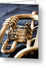 Used Old Trumpet, Closeup Greeting Card