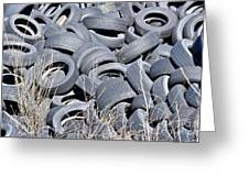 Used Tires At Junk Yard Greeting Card