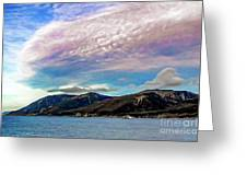 Ushuaia, Ar, Clouds Over Mountains Greeting Card