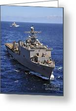 Uss Comstock Leads A Convoy Of Ships Greeting Card