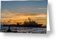 Uss Germantown At Sunset. Greeting Card
