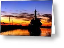 Uss Spruance Is Pierside At Naval Greeting Card