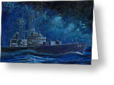 Uss Truxtun Dlgn-35 A Nuclear-powered Cruiser At Sea At Night Under The Milky Way Greeting Card