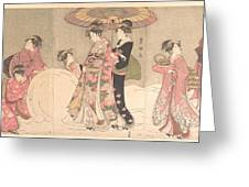 Utagawa Toyokuni I    Courtesans And Attendants Playing In The Snow Greeting Card