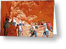 Utah Seventh Graders Climb Up Switchbacks On Wall Street On Navajo Trail In Bryce Canyon National Pa Greeting Card