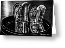 Utensils Reflected - Bw Greeting Card