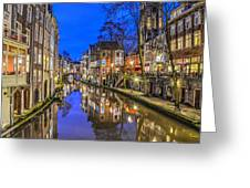 Utrecht From The Bridge By Night Greeting Card