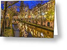 Utrecht Old Canal By Night Greeting Card