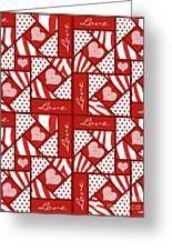 Valentine 4 Square Quilt Block Greeting Card