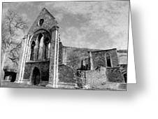 Valle Crucis Abbey Monochrome Greeting Card