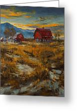 Valley Farm Sunset Greeting Card
