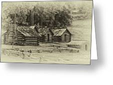Valley Forge Barracks In Sepia Greeting Card
