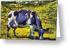 Van Gogh.s Starry Blue Cow . 7d16140 Greeting Card