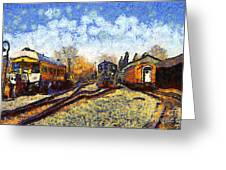 Van Gogh.s Train Station 7d11513 Greeting Card