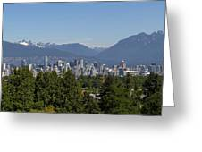 Vancouver Bc City Skyline And Mountains View Greeting Card