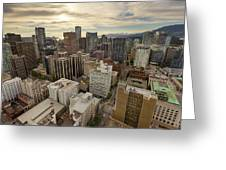 Vancouver Bc Cityscape Aerial View Greeting Card