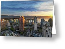 Vancouver Bc Cityscape At Sunset Greeting Card