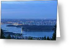 Vancouver Bc Cityscape During Blue Hour Dawn Greeting Card