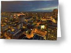 Vancouver Bc Cityscape During Evening Twilight Greeting Card