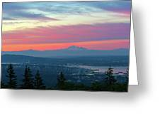 Vancouver Bc Cityscape With Cascade Range Morning View Greeting Card
