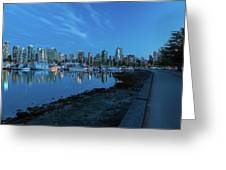 Vancouver Bc Skyline Along Stanley Park Seawall Greeting Card