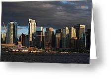 Vancouver City Sunset Panorama From Stanley Park Greeting Card