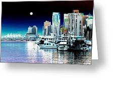Vancouver Harbor Moonrise  Greeting Card