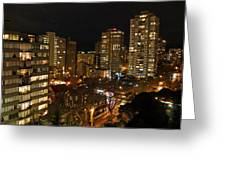 Vancouver Skyline Greeting Card by Nancy Harrison