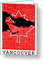 Vancouver Street Map - Vancouver Canada Road Map Art On Canada Flag Symbols Greeting Card