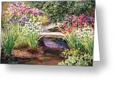 Vandusen Garden Iris Bridge Greeting Card
