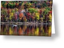 Vanishing Autumn Reflection Landscape Greeting Card