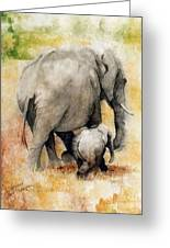 Vanishing Thunder Series - Mama And Baby Elephant Greeting Card by Suzanne Schaefer