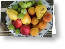 Variety Of Fresh Summer Fruit On A Plate Greeting Card