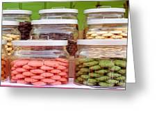 Various Cookies In Glass Jars Greeting Card