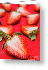 Various Sliced Strawberries Close Up Greeting Card