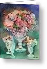 Vase Full Of Roses Greeting Card