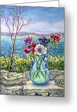 Vase Of Anemones With View Of Nafplio Greeting Card