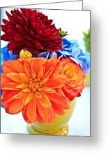 Vase Of Colorful Flowers Greeting Card