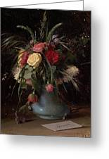 Vase Of Flowers And A Visiting Card Greeting Card