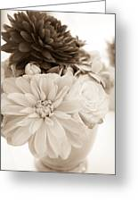 Vase Of Flowers In Sepia Greeting Card