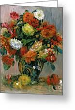 Vase Of Flowers Greeting Card by Pierre Auguste Renoir