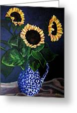 Vase Of Sunflowers Greeting Card