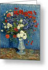 Vase With Cornflowers And Poppies Greeting Card